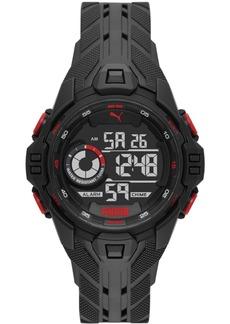 Puma Men's Bold Black Silicone Strap Watch 45mm