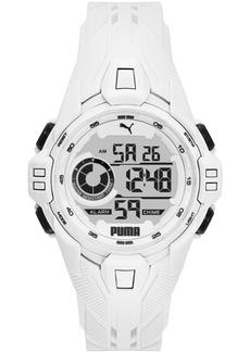 Puma Men's Bold White Silicone Strap Watch 45mm