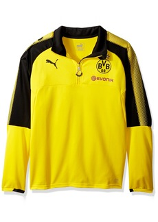 PUMA Men's BVB 1/4 Training Top with Sponsor Logo Cyber Yellow Black M