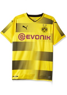 PUMA Men's BVB Home Replica Shirt with Sponsor Logo Cyber Yellow Black