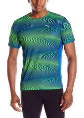 PUMA Men's Essential Graphic Tee Surf The Web/Green Gecko Small