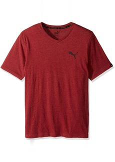 PUMA Men's Iconic V-Neck T-Shirt red Dahlia Heather/Black M