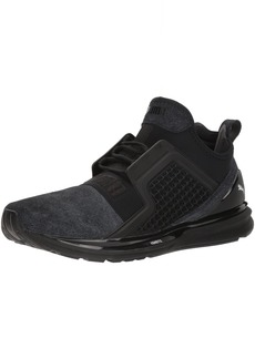 PUMA Men's Ignite Limitless Brushed Suede Sneaker Black Silver