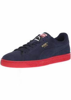 PUMA Men's Suede Classic Sneaker Peacoat Team Gold-Ribbon red