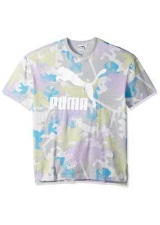 PUMA Men's Summer Tropical Tank Top Light Gray Heather/All Over Print S