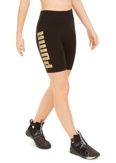 Puma Metallic-Logo High-Waist Bike Shorts