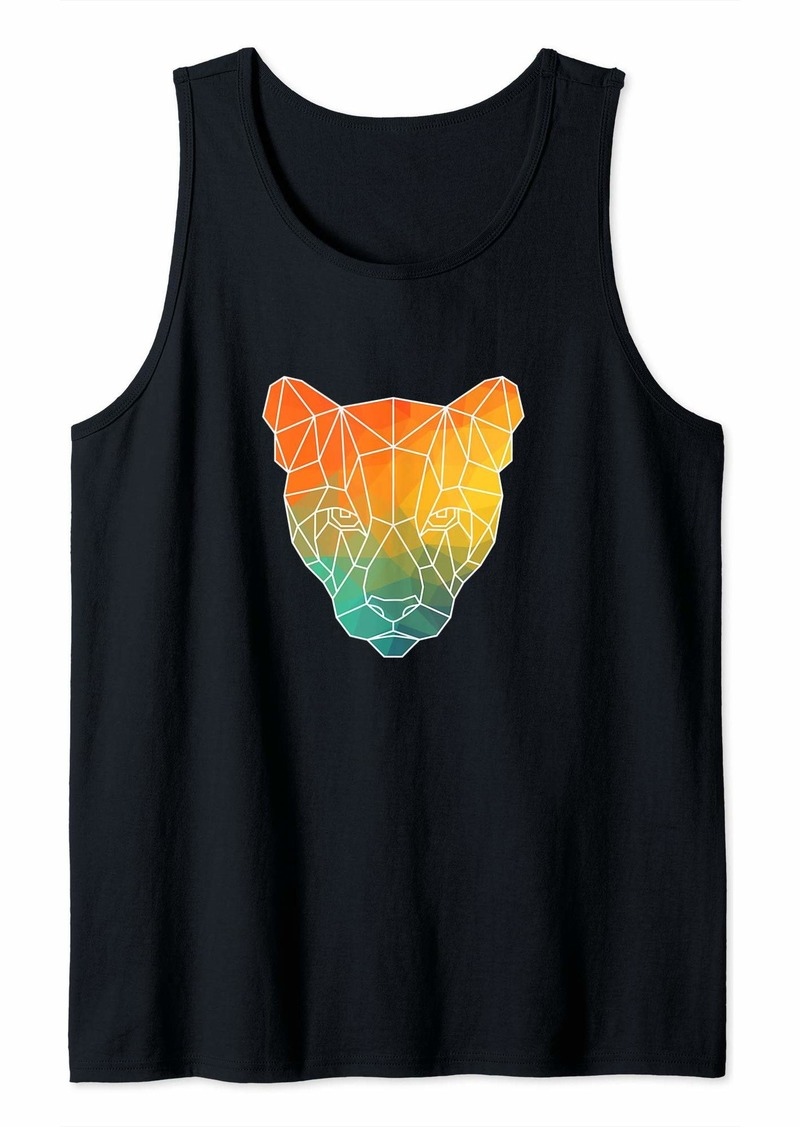 Puma Outline Polygons Watercolor Silhouette Tank Top