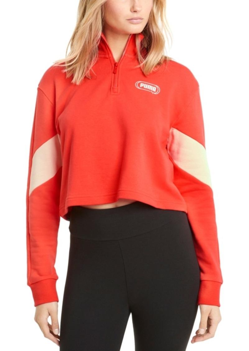 Puma Rebel Half-Zip Cropped Sweatshirt