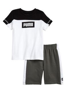 PUMA Rebel Logo T-Shirt & Shorts Set (Toddler Boys & Little Boys)