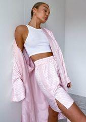 Puma satin kimono in pink logo print