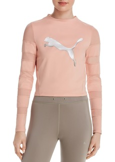 PUMA Strapped Up Mesh-Inset Cropped Top