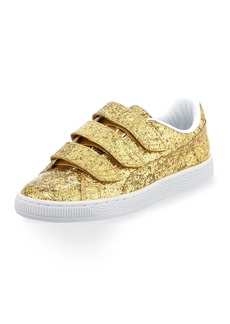 Puma Three-Strap Glittered Low-Top Sneakers  Gold