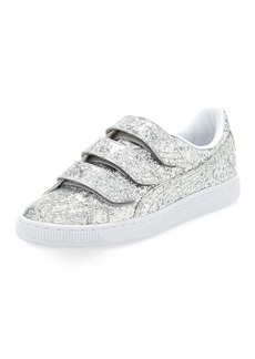Puma Three-Strap Glittered Low-Top Sneakers