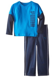 PUMA Little Boys' Toddler 2 Piece Long Sleeve Tee and Pant Set