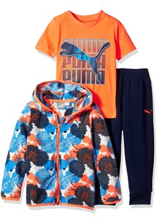 PUMA Toddler Boys' Micro Fleece Hoodie Jogger and Bodysuit Set