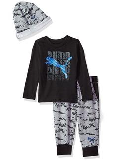 PUMA Toddler Boys' Three Piece Jogger T-Shirt and Hat Set Black