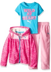 PUMA Toddler Girls' 3pc Hoodie Tee and Pant Set