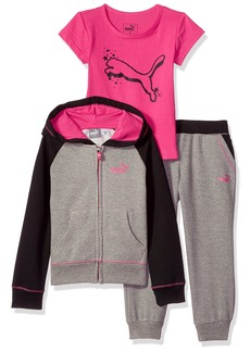PUMA Toddler Girls' Three Piece Hoodie Pant and Tee Set