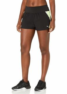 PUMA Women's 2 in 1 Running Shorts Black-Fizzy Yellow XS