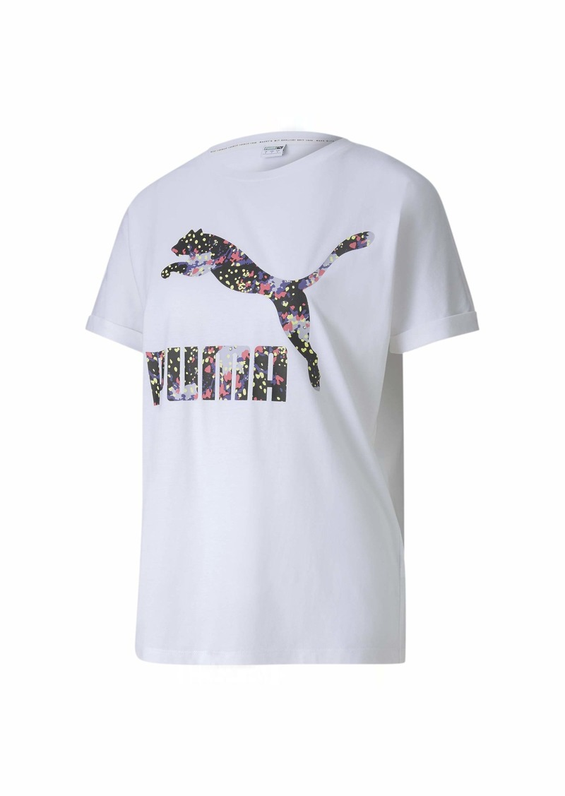 PUMA Women's All Over Print Roll Up Tee White S