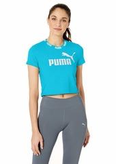 PUMA Women's Amplified Cropped T-Shirt Caribbean sea