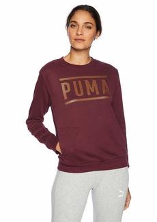 PUMA Women's Athletic Crew Sweatshirt fig/BronzeMedal L