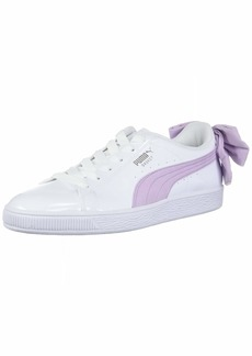 PUMA Women's Basket Bow Sneaker White-Winsome Orchid  M US