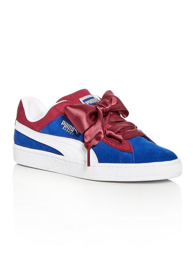 PUMA Women's Basket Color Block Suede Lace Up Sneakers