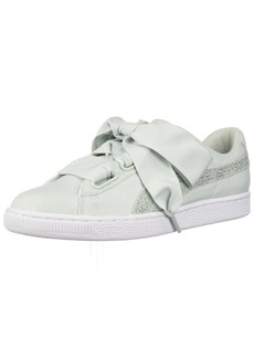 PUMA Women's Basket Heart Canvas Wn Sneaker Blue Flower White Silver  M US