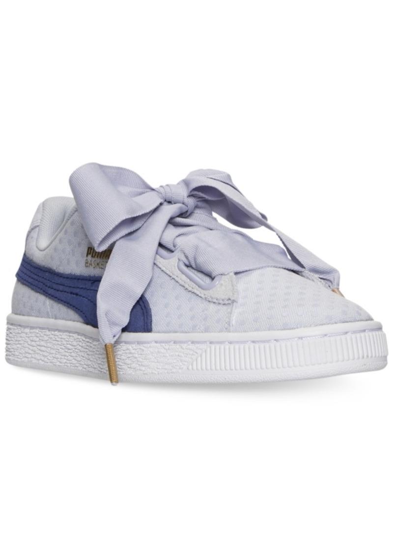 SALE! Puma Puma Women s Basket Heart Denim Casual Sneakers from ... 3fe4b2310
