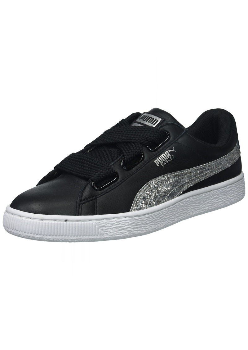 PUMA Women's Basket Heart Glitter Wn Sneaker Black/Silver  M US