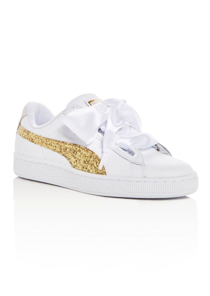 781a77f218f4 Puma PUMA Women s Basket Heart Leather   Glitter Lace Up Sneakers ...
