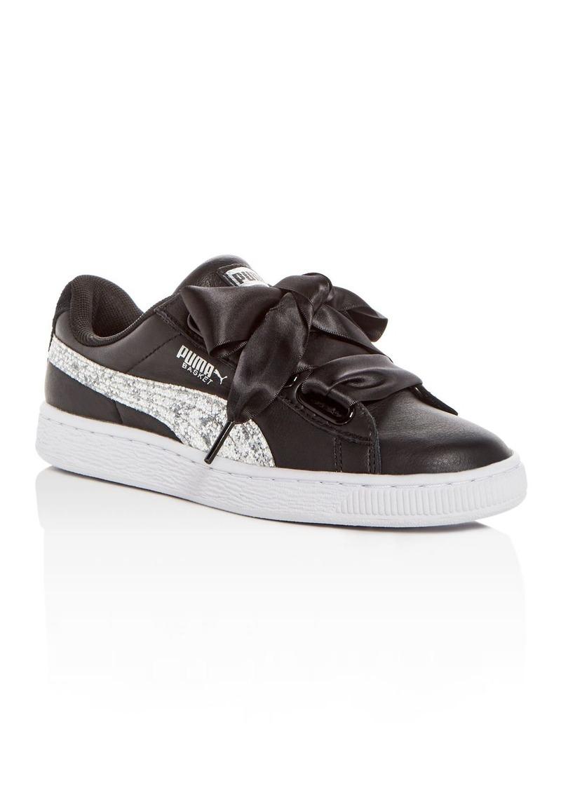 Up Women's Heart Lace Glitter Basket Sneakers Leatheramp; roedBCx