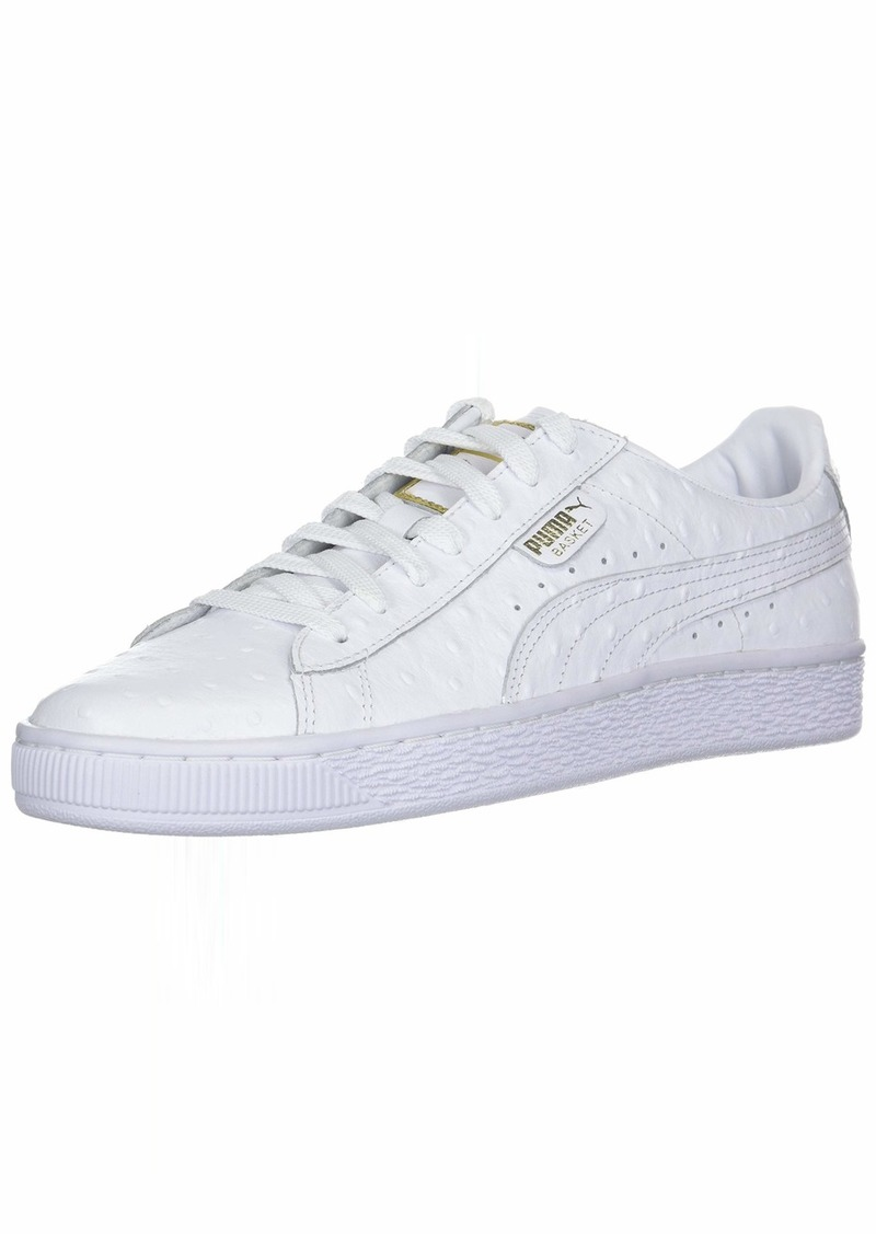 PUMA Women's Basket Ostrich Sneaker White-Metallic Gold  M US