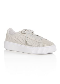PUMA Women's Basket Perforated Nubuck Leather Lace Up Platform Sneakers