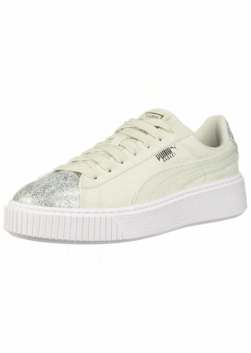 PUMA Women's Basket Platform Canvas Wn Sneaker Blue Flower Silver  M US