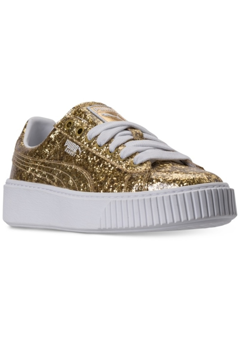 5b068f9f64d Puma Women s Basket Platform Glitter Casual Sneakers from Finish Line