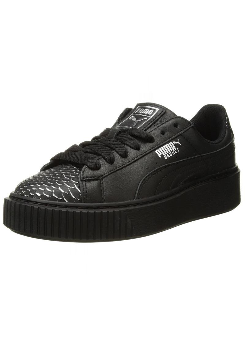 PUMA Women's Basket Platform Ocean Wn Sneaker Silver Black  M US