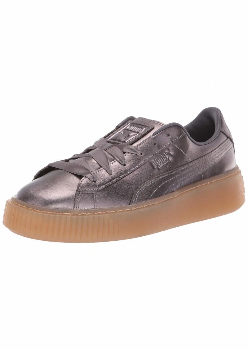 PUMA Women's Basket Platform Patent Sneaker quiet shade-quiet shade   M US
