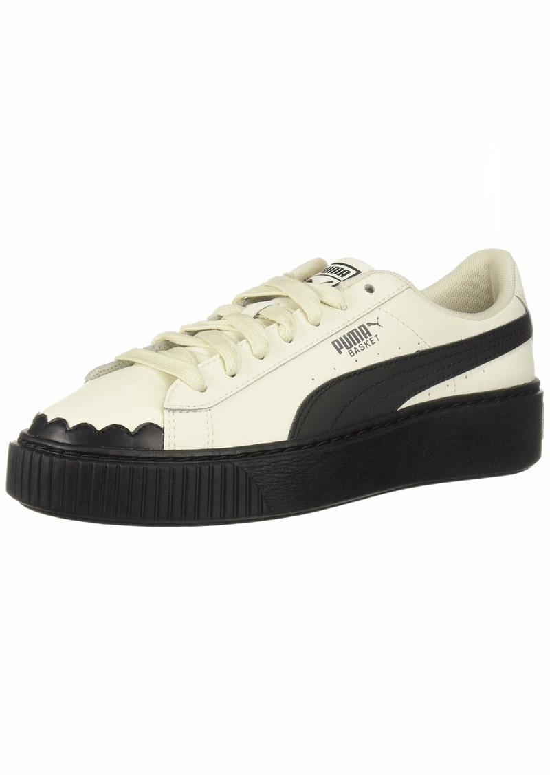 PUMA Women's Basket Platform Sneaker Whisper White Black  M US
