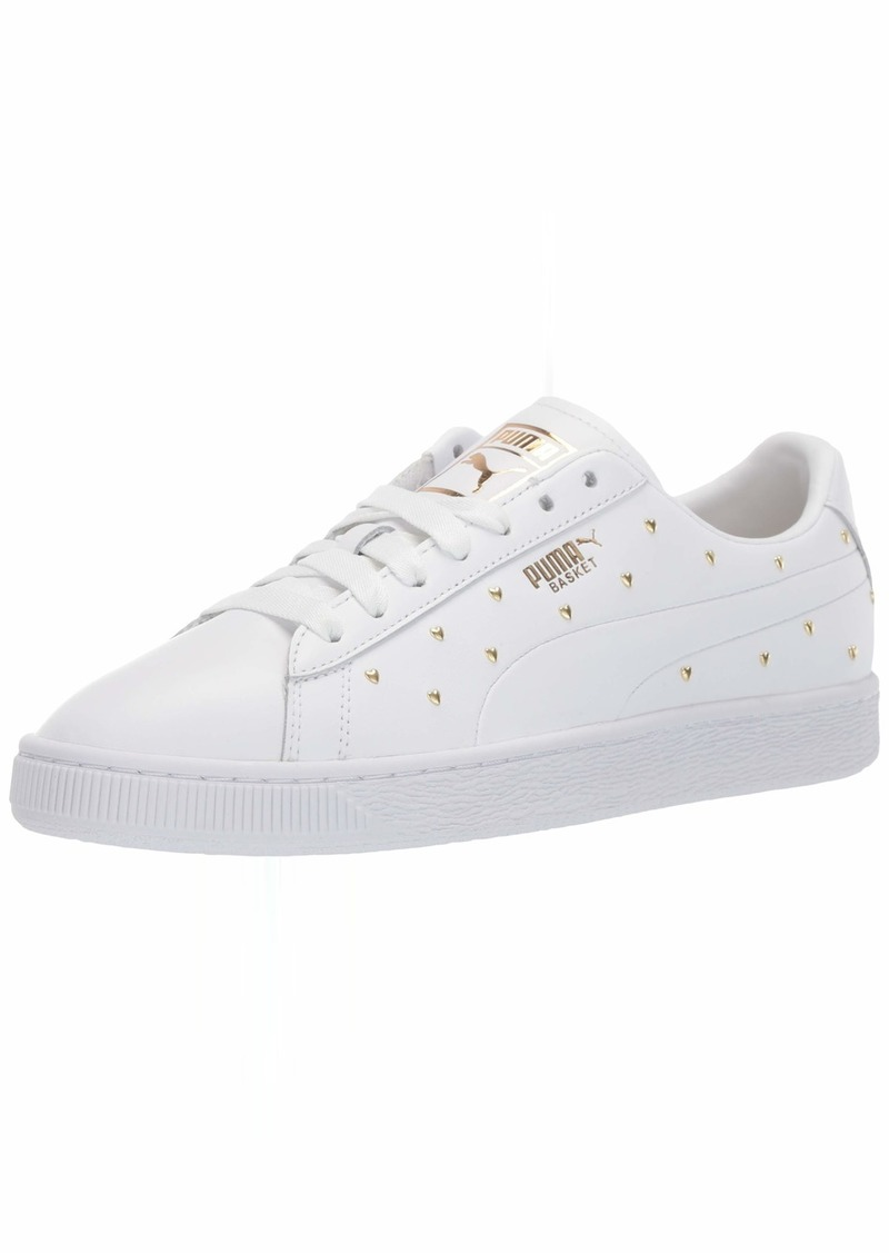 PUMA Women's Basket Sneaker White Team Gold  M US