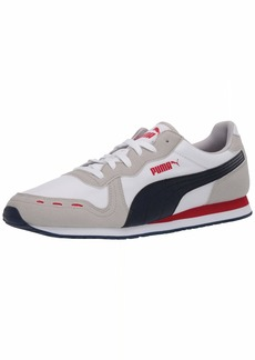 PUMA Cabana Run Shoe White-Gray Violet-Peacoat-High Risk Red  M US