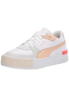 PUMA Women's Cali Sport Sneaker White-Gray Violet-Shifting Sand-Eggnog-Fiery Coral