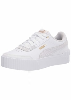 PUMA Women's Carina Lift Sneaker White White Team Gold