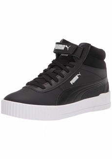 PUMA Women's Carina Mid Sneaker Black Black White  Medium
