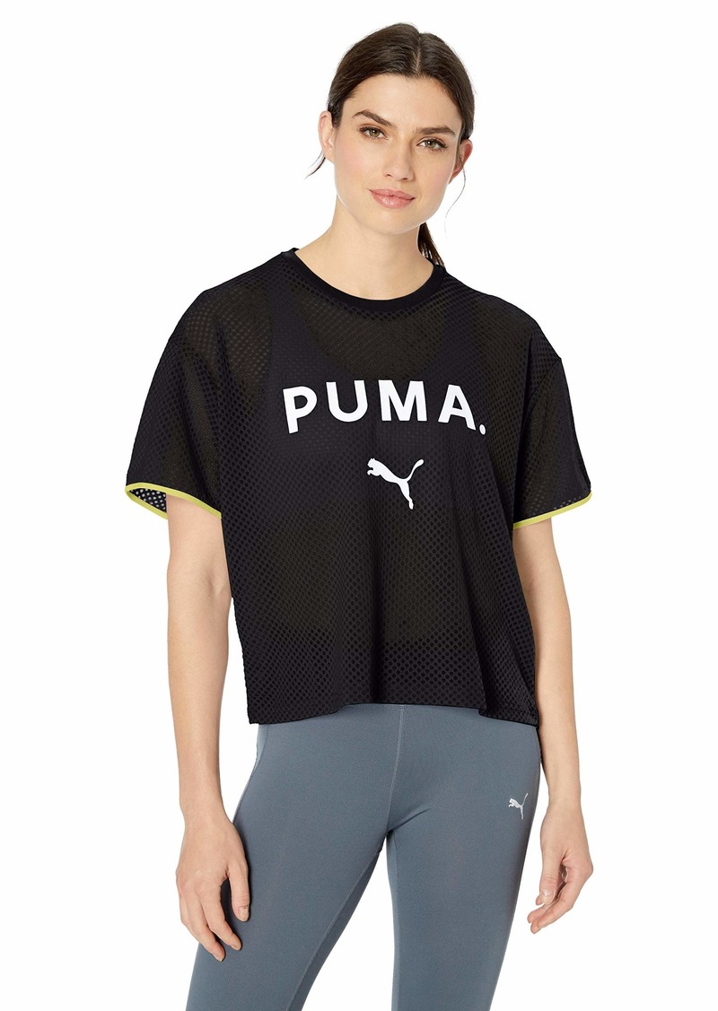 PUMA Women's Chase Mesh T-Shirt Black M