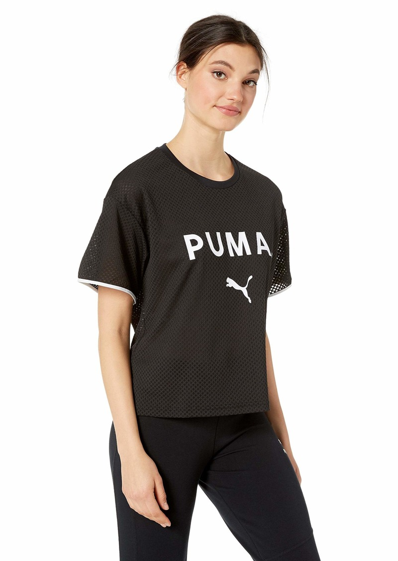 PUMA Women's Chase Mesh T-Shirt Black S