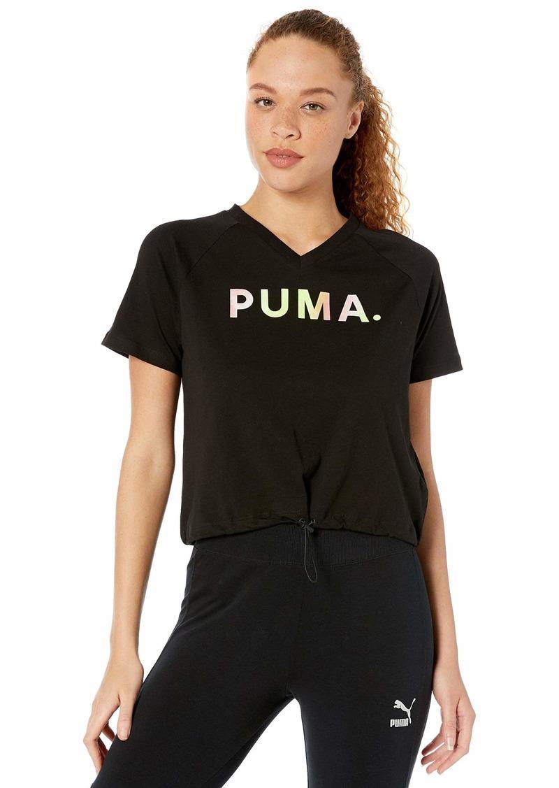 PUMA Women's Chase V-Neck T-Shirt Black S