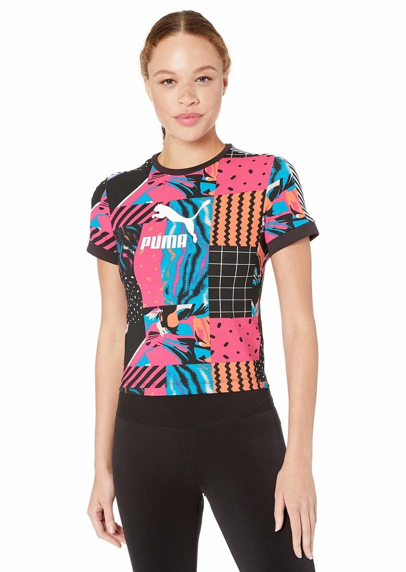 PUMA Women's Clash All Over Print Tee Shirt Cotton Black/AOP XS