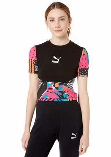 PUMA Women's Clash All Over Print Top Cotton Black/AOP S